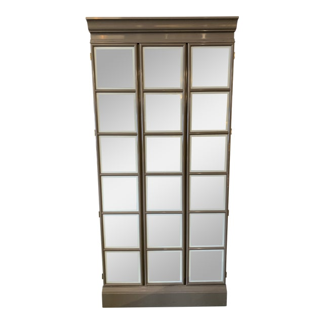 Custom Large Gray Lacquered Lighted Display Cabinet For Sale