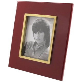 French Jean Claude Mahey Oxblood Lacquer and Polished Brass Picture Photo Frame For Sale