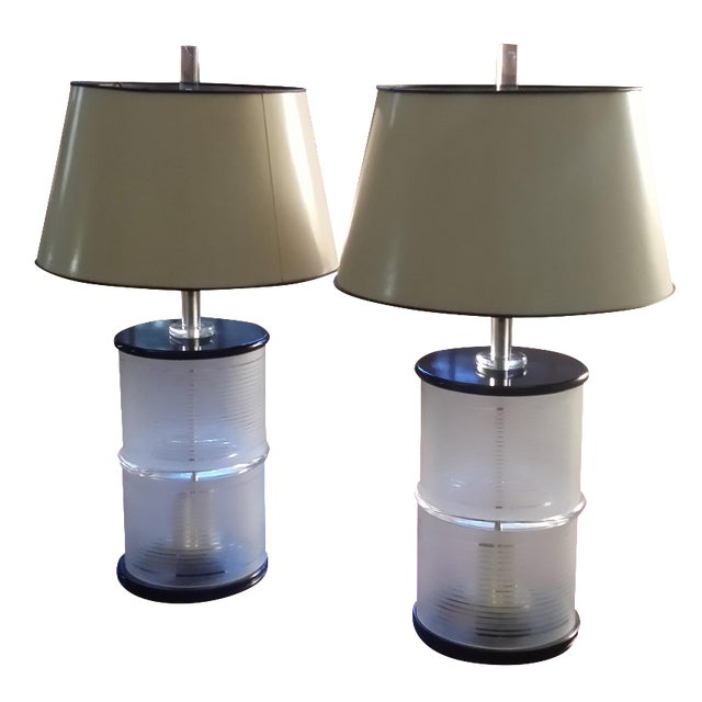 Mid-Century Lucite & Glass Lamps - A Pair - Image 1 of 7