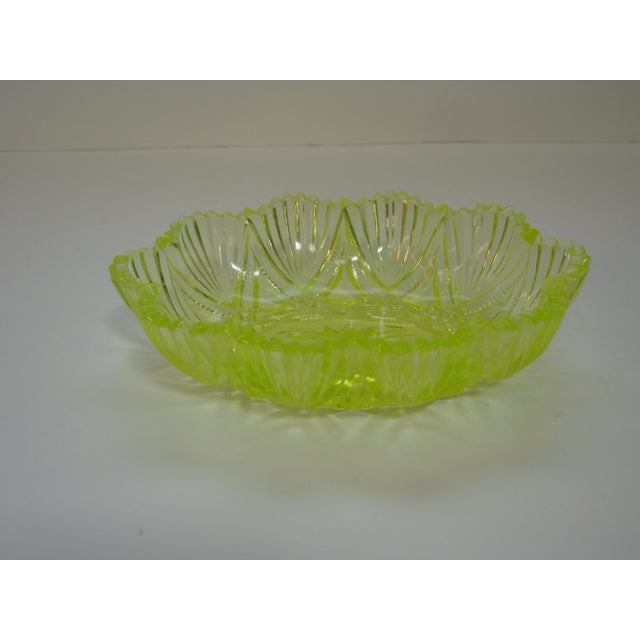 Glass Antique Canary Yellow Vaseline Glass Candy Dish For Sale - Image 7 of 7