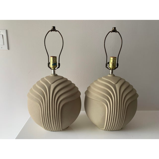 1980's Art Deco Style Plaster Table Lamps - a Pair For Sale - Image 9 of 10