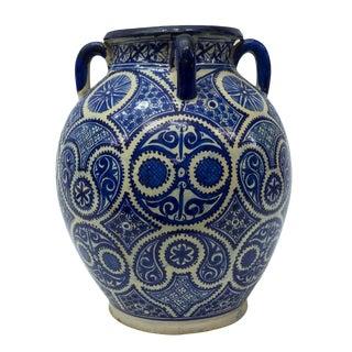 Large Moroccan Hispano-Moorish Blue and White Ceramic Handled Jar For Sale