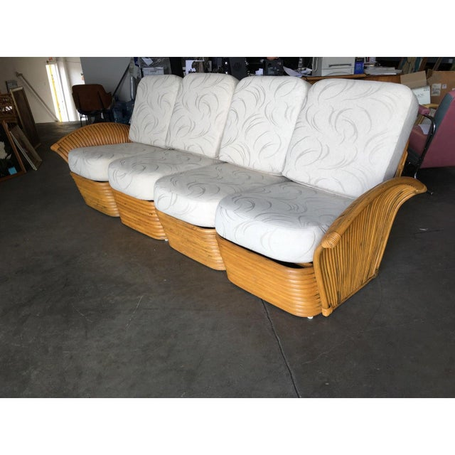 Restored Art Deco Rattan Fan Arm Three-Seat Sofa & Lounge Chair Livingroom Set For Sale - Image 4 of 11