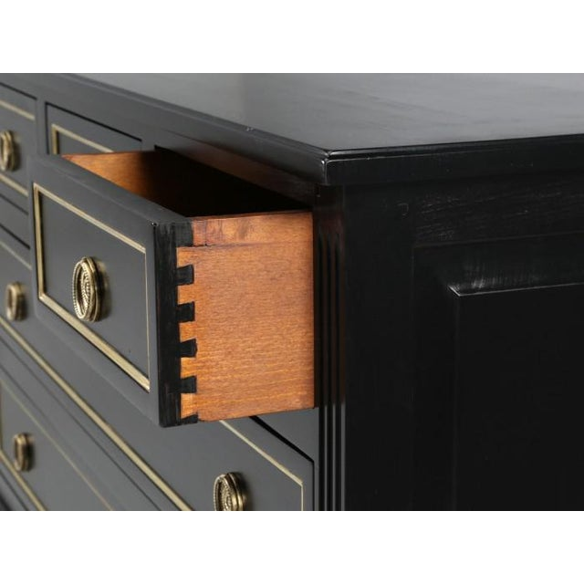 Metal French Louis XVI Ebonized Style Commode For Sale - Image 7 of 12