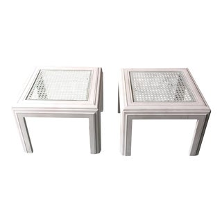 White Lane Wicker Glass Top Side Tables - A Pair For Sale