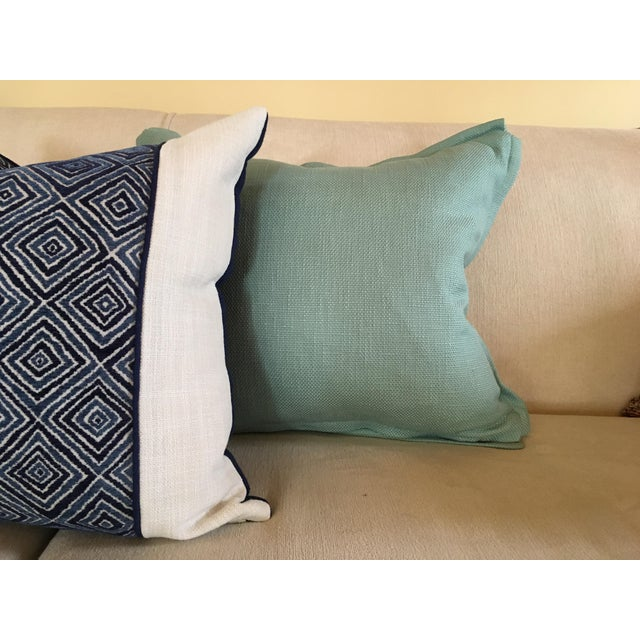 Aqua Houndstooth Pillow Covers - A Pair For Sale - Image 11 of 13