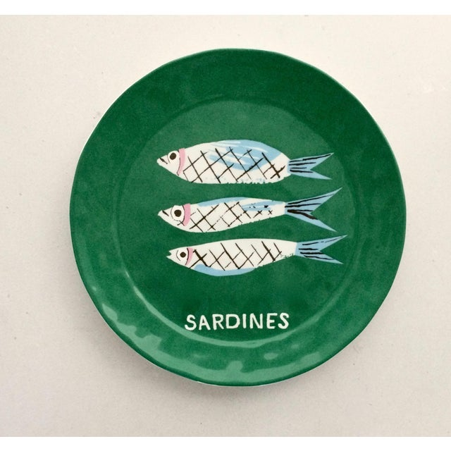 "Set of two dessert/canape plates by Brooklyn-based artist/designer Danielle Kroll. ""Sardine"" motif from the collection..."