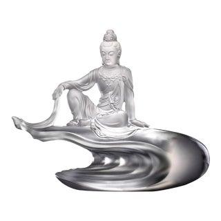Liuli Crystal Art Crystal Guan Yin Goddess of Compassion Figurine For Sale