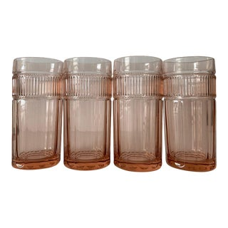 Vintage Modern Anchor Hocking Pink Water / Ice Tea Glasses Set of 4 For Sale