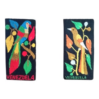 Vintage Venezuelan Exotic Birds Hooked Rug Panels - A Pair For Sale