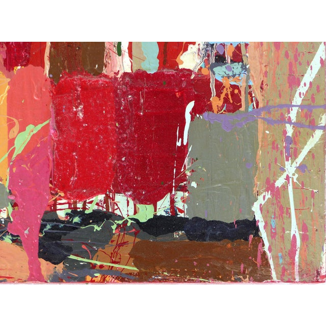 """Red William P. Montgomery Abstract Mixed Media Painting """"Rocket Science #1"""" For Sale - Image 8 of 13"""