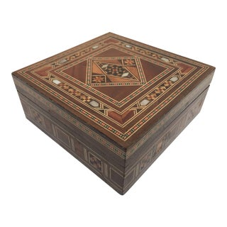 Vintage Middle Eastern Moorish Inlaid Marquetry Mosaic Box and Coasters - 7 Pieces For Sale