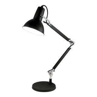 Art Deco Satin Black With Aluminium Accents Adjustable Desk Lamp For Sale