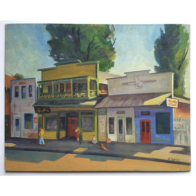 This is a beautifully composed original oil painting of historic chinatown likely in either Oakland or San Francisco. The...