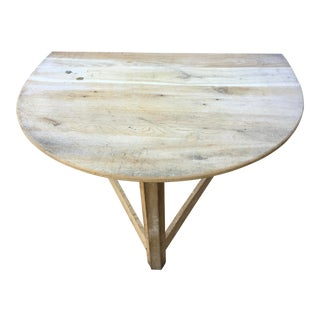 1980s Rustic Wooden Unstained Corner Table For Sale