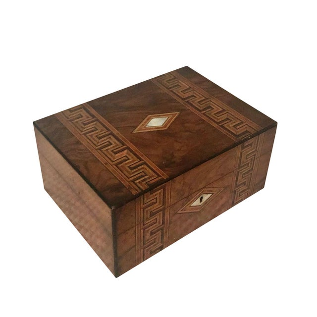Antique French Marquetry Inlay Jewelry Box For Sale - Image 10 of 10