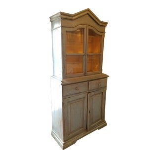1920s French Blue Cupboard With Glass Doors For Sale