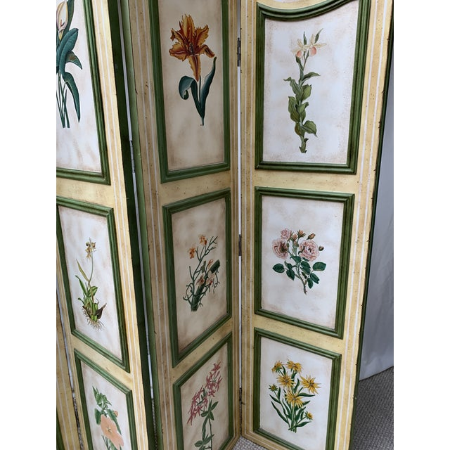 Vintage Early 20th Century French Hand-Painted Floral Botanical Wood Screen For Sale - Image 4 of 12