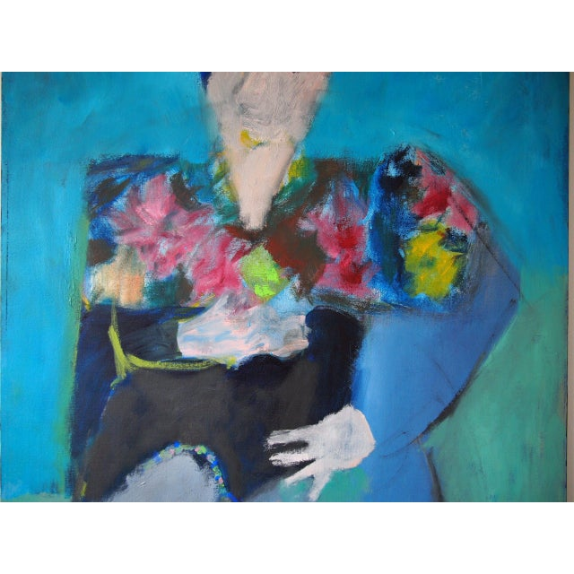 Original Charles Li Hidley Abstract Expressionist Lady Portrait Oil on Canvas Painting For Sale - Image 4 of 9