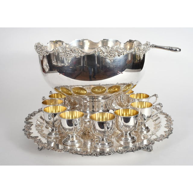 Vintage English Georgian Style Silver Plated & Copper Punch Bowl Set of 15 For Sale - Image 12 of 12