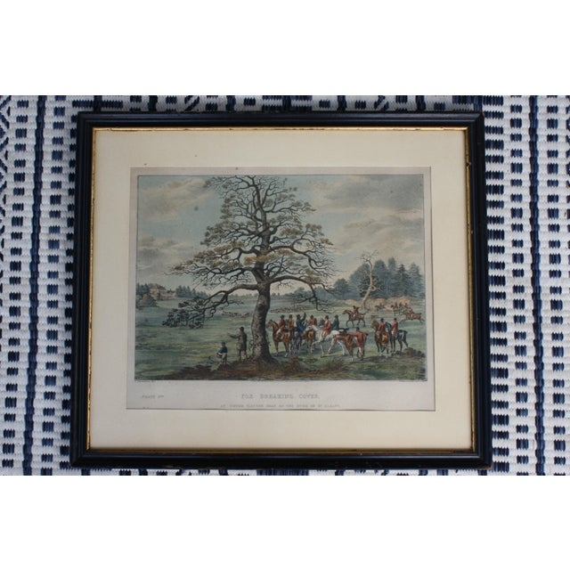 """-Antique framed tinted engraving after Dean Wolstenholme, Jr [British 1798-1882] """"Fox breaking cover at Upper Gatton seat..."""