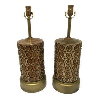Large Mid-Century Ceramic Table Lamps - a Pair For Sale