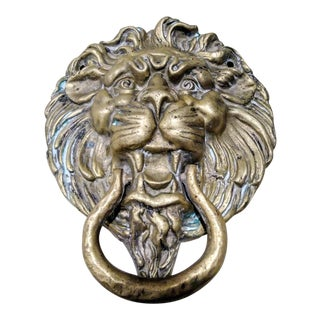 Massive Brass Lion Head Door Knocker For Sale