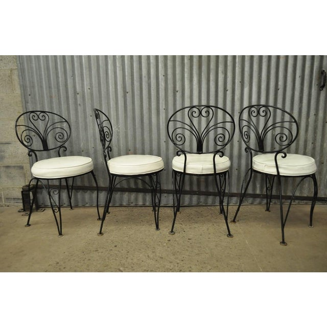 b11e762aebc8 1950s Vintage Mid Century Modern Curule Wrought Iron Patio Dining Set Table  4 Chairs For Sale