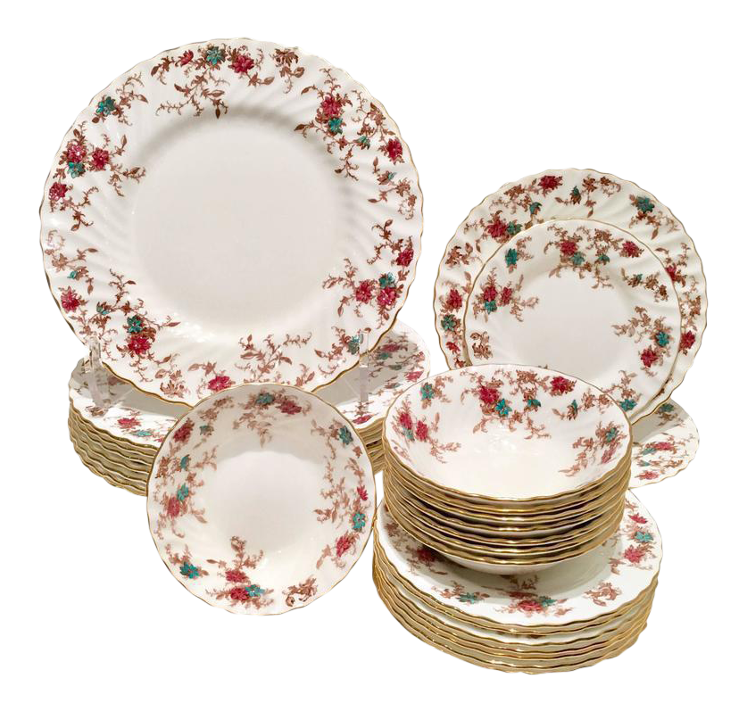 Vintage Minton England \ Ancestral\  Bone China Dinnerware - Set of 26  sc 1 st  Chairish & Vintage Minton England \