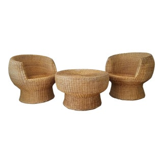 1960's Postmodern Eero Aarino Attributed Wicker Chairs and Coffee Table - Set of 3. For Sale