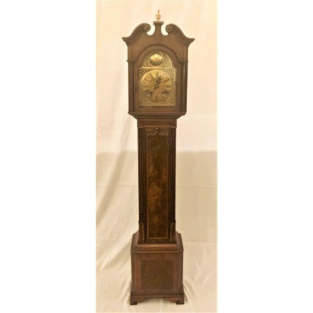 Antique English Mahogany Grandmother Striking Clock, Circa 1900-1910.