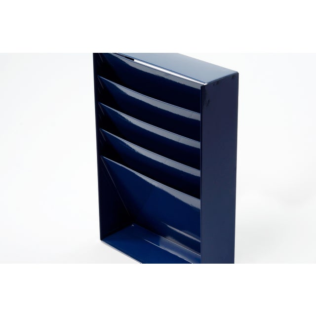 Industrial 1960s Retro Steel File Holder/ Magazine Rack/ Mail Organizer, Refinished in Midnight Blue For Sale - Image 3 of 6