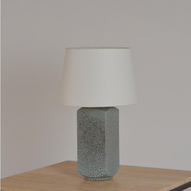 Art Deco Shagreen Glaze Ceramic Lamp With Parchment Shade For Sale - Image 11 of 11