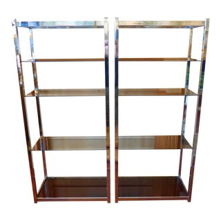 Mid Century Modern Chrome and Smoked Glass Shelves- Pair