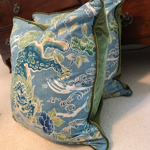 Brunschwig & Fils Shishi Turquoise Pillows - A Pair - Image 3 of 9