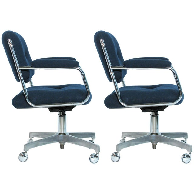 Chromcraft Rolling Swivel Armchairs - A Pair - Image 1 of 9