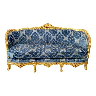 Vintage 1900's French Louis XVI Sofa in Blue Damask and Gold Frame. For Sale