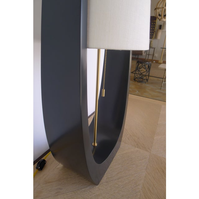 Mid-Century Modern Wishbone Table Lamp in Satin Matt Gray-Black For Sale - Image 3 of 8