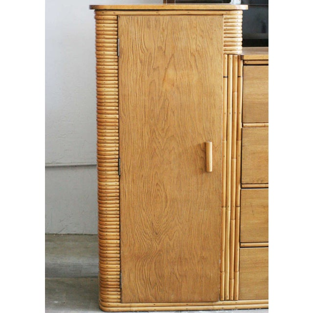 Rare Vintage Stacked Rattan Armoire - Image 2 of 8