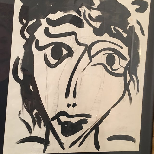 Metal 1960s Vintage Peter Keil Abstract Female Face Painting For Sale - Image 7 of 9