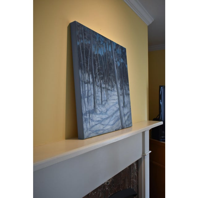 """Canvas Stephen Remick """"Silent Moonlight"""" Contemporary Expressionist Landscape Painting For Sale - Image 7 of 9"""