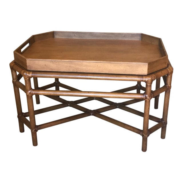McGuire Bamboo & Fruitwood Coffee Table For Sale