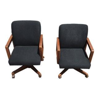 1970s Boling Chair Company Oak Box-Arm Swivel-Tilt Desk Chairs- a Pair For Sale