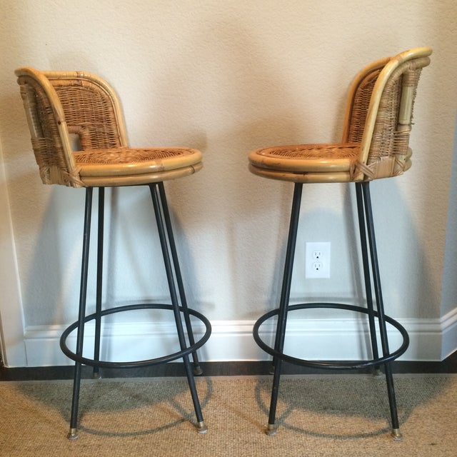 Vintage Seng of Chicago Wicker & Iron Stools - A Pair For Sale - Image 4 of 7