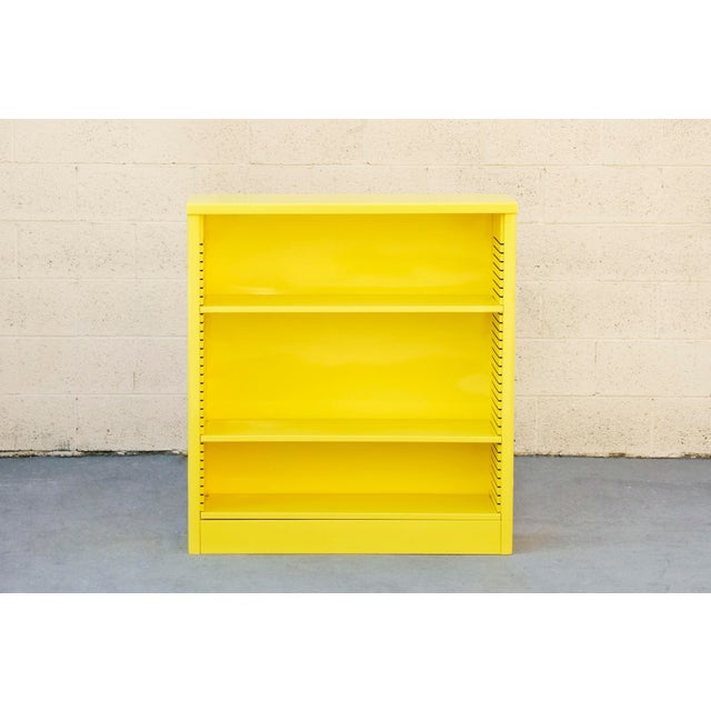 Metal 1960s Steel Tanker Style Bookcase in Yellow, Custom Refinished to Order For Sale - Image 7 of 8