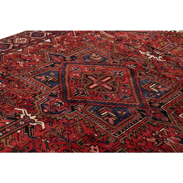 "Vintage Persian Heriz Handmade Wool Rug, 7'9"" X 10'3"" For Sale - Image 9 of 10"