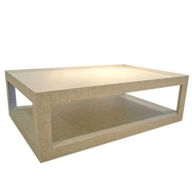 Early 21st Century Schumacher Quotidian Mitsu Weave Pearl Color Fabric-Wrapped Cocktail Table For Sale - Image 5 of 5