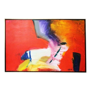 Red Caldwell Abstract Scene Oil Painting For Sale
