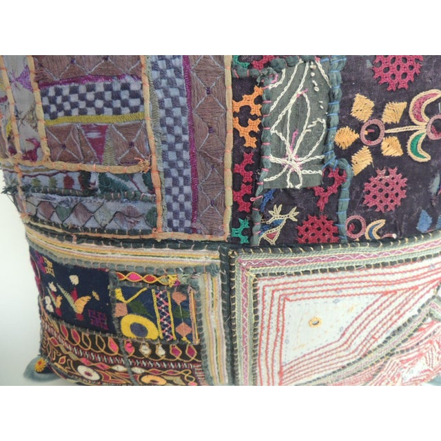 Boho Chic Vintage Large Colorful Indian Floor Decorative Pillow For Sale - Image 3 of 5