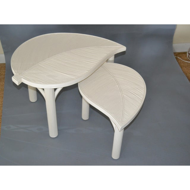 Hollywood Regency Two Leaf Shaped Bamboo & Pencil Reed Side Tables - a Pair For Sale - Image 13 of 13